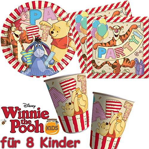 Procos/Carpeta 37Set Party * Winnie l'Ourson * avec assiette + Gobelet + Serviettes +/décoratif/Ourson Alphabet Anniversaires d'Enfants Enfants Fête d'anniversaire Thème Ballons