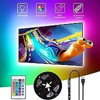 Striscia LED USB 3M,SHOPLED Retroilluminazione TV led RGB 5050 Strip lights con Telecomando per HDTV da 40-60 Pollici…