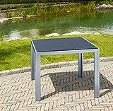 greemotion Tisch Monza silber, Esstisch mit Spraystone-Platte, Gartentisch mit leichtem Aluminiumgestell, wetterfest und pflegeleicht, Maße ca. 90 x 90 x 74 cm