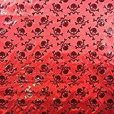 Rot & Schwarz Halloween Metallic Seidiger Satin Skull &