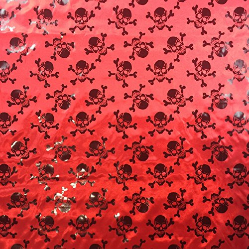 Bone Bekleidung (Rot & Schwarz Halloween Metallic Seidiger Satin Skull & Bones Kleid Craft Stoff gedruckt 147,3cm 147cm Breite-Meterware)