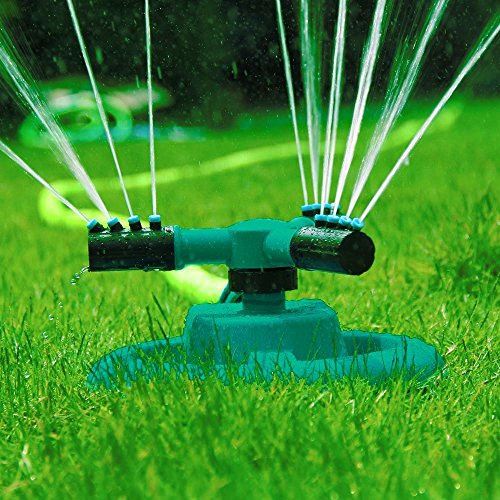 Garten Sprinkler- Automatische Rasen Wasser Sprinkler 360 Grad 3- Arm Rotierende Sprinkler System