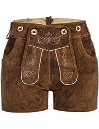 f000398bdc Gaudi-Leathers Damen Trachten Lederhose Shorts kurz mit Träger in  verschiedenen Farben
