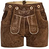 Gaudi-Leathers Damen Trachten Lederhose Shorts kurz mit Träger in Braun (Hellbraun 040), W34 (Herstellergröße: 38)