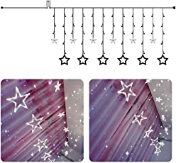 Quace 12 Stars 138 LED String Window Curtain Lights with 8 Flashing Modes Decoration (White, AC-StarLight-White)