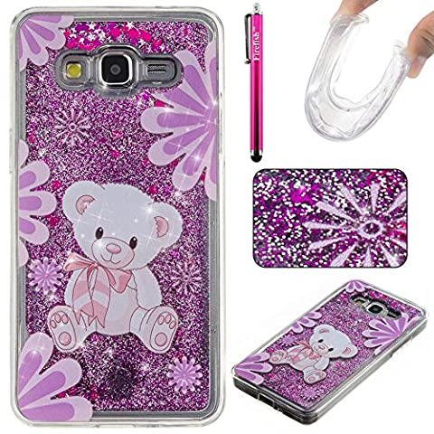 Coque Galaxy Grand Prime, Glitter Liquide TPU Etui, Firefish Ultra mince Bling Soft Dual Layer Liquide Sables Mouvant Clair Cristal Protection Coque Housse pour Samsung Galaxy Grand Prime SM - G530F G530FZ G530H G530FZ / DS