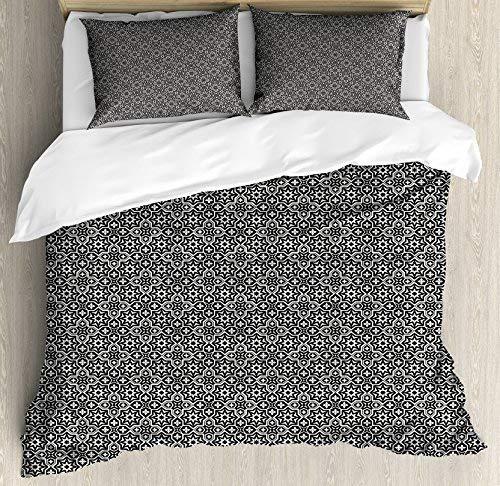 Lunarable Arabic Duvet Cover Set King Size, Rich Royal Moroccan Design Elements Oriental Floral Mosaic Damask Style, Decorative 3 Piece Bedding Set with 2 Pillow Shams, Blue Dark Blue Beige