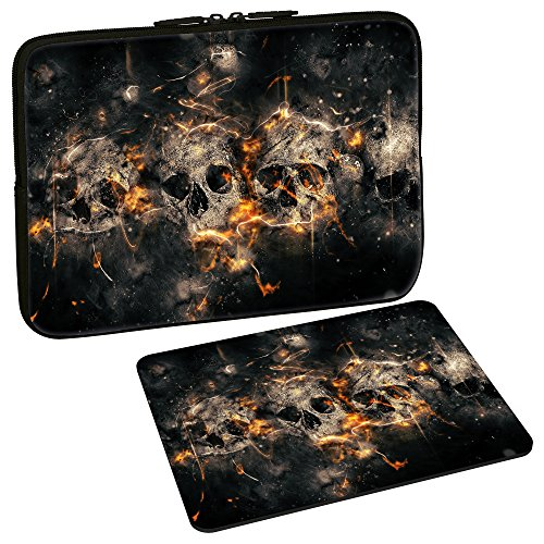 PEDEA Design Schutzhülle Notebook Tasche bis 17,3 Zoll (43,9cm) mit Design Mauspad, Skulls