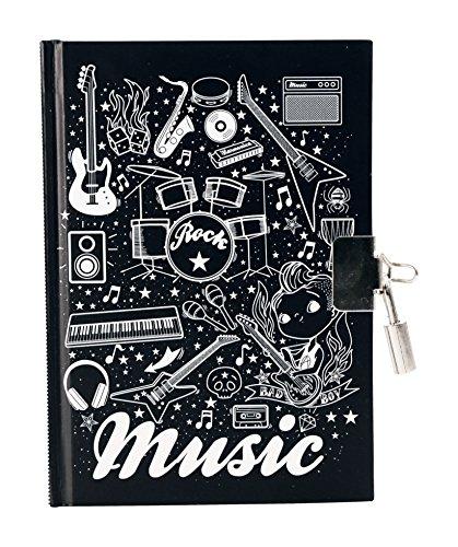 Avenue Mandarine CO140O Tagebuch Musik, 240 Seiten, liniert, trendiges Design, 1, Stück, schwarz/weiß