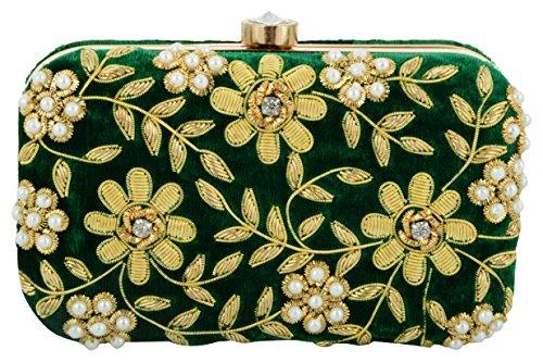 Tooba Handcrafted GRNZZ Women's Box Clutch (Green)