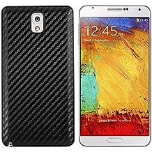 kwmobile Tapa para batería con aspecto de carbono para el Samsung Galaxy Note 3 en color negro - complementa el diseño de su Samsung Galaxy Note 3