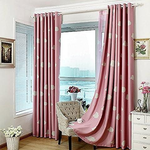 1 Pair Pink Room Darkening Eyelet Curtains for Girls Living