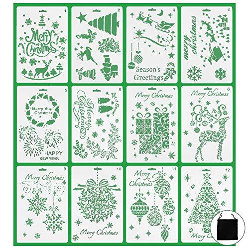Schablonen Set 12 Weihnachten Zeichenschablonen Journal Weihnachtsplaner Set DIY Malerei Zeichnung Frohe Weihnachten Weihnachtsmann Weihnachtsbaum Schneeflocken für Ausarbeitung/Journal/Notebook