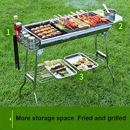 430 Edelstahl Grill, gegrillter tragbarer Klappgrill für zwei Benutzer für Camping Picknick Outdoor Garten Party