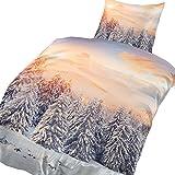 4 tlg. Flausch Bettwäsche Schneelandschaft weiß in 135 x 200 cm aus Microfaser Thermofleece (Premiumdruck)