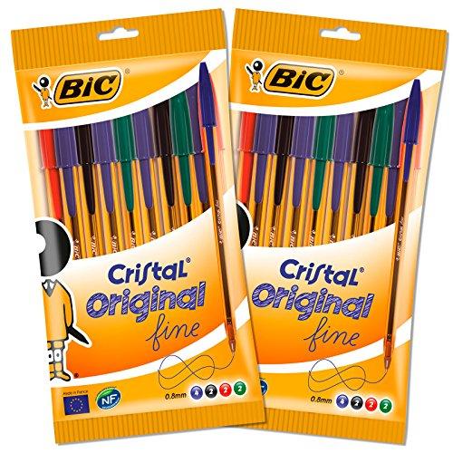 BIC 962705 Lot de 20 Cristal Original Stylos-Billes Pointe Fine