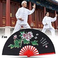 Fan de Tai Chi, ventilador de seda chino de Kung Fu de los artes marciales de Kung Fu Fan de seda de la mano derecha de Wushu Funcionamiento de la danza Ventilador plegable de la mano del ventilador d(Negro)
