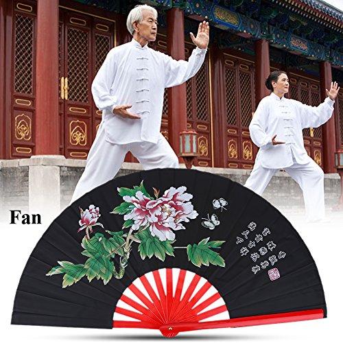 Chinesischer Fächer Tai Chi Fan, Chinesische Kung Fu Kampfkunst Fan Bambus Seide Fan Rechte Hand Wushu Tanz Leistung Pratice Training Folding Fan Hand Fan(Schwarz)