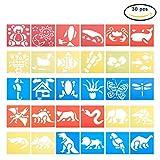 NBEADS 30Stück Tier Kunststoff Malerei stencils-30verschiedenen Mustern des Zeichnens Sprühen Schablonen Wiederverwendbar für Kinder lernen, Scrapbooking, Schule Projekte und DIY Basteln
