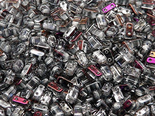 50pz 3x6mm Brick Beads - Czech perle di vetro pressato rettangolare con due fori, Crystal Brown Flare