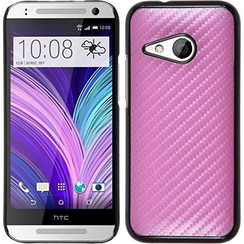 PhoneNatic Case für HTC One Mini 2 Hülle pink Carbonoptik Hard-case + 2 Schutzfolien
