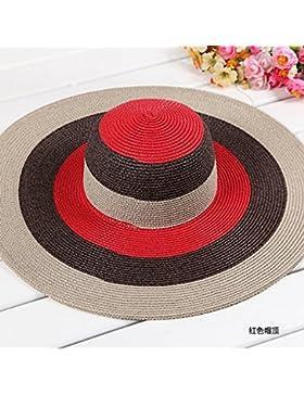 SituMi Señoras Verano sombrero para el sol Sombrero de Paja plegable disquete ala ancha playa grande,híbrido rojo