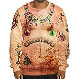 SEWORLD Weihnachten Christmas Herren Herbst Winter Männer Lustige Weihnachten 3D Drucken O-Ausschnitt Langarm Bluse Tops T Shirt(Mehrfarbig3,EU-54/CN-XXL)
