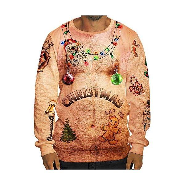 Batnott Herren Weihnachtspullover Ugly Christmas Shirt Männer Lustig Sexy Weihnachten 3D Print Langarm Tasche Sweatshirt Pullover Winter Sweatshirt Xmas Party Hemd Oversize Große Größen 3XL XXXL