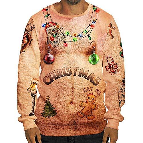 SEWORLD Weihnachten Christmas Herren Herbst Winter Männer Lustige Weihnachten 3D Drucken O-Ausschnitt Langarm Bluse Tops T ()