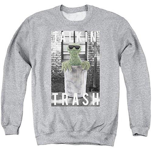 Sesamstrasse Classic TV Show Oscar Talkin' Trash Erwachsene Sweatshirt Rundhalsausschnitt - grau - Groß (Street Für T-shirts Sesame Erwachsene)