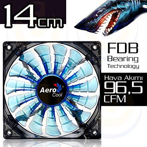 Aerocool SHARK - Ventilador gaming para PC (14 cm, 12V/7V, 15 aspas,...