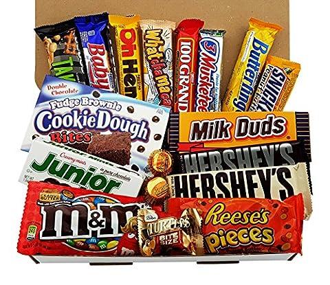 Grand Coffret Cadeau Américain Chocolat | Noël/Anniversaire | Boîte American Candy Bonbons| Assortiment inclut Hersheys, Reeses, M&M, Butterfinger | Coffret cadeau vintage de 18 pièces