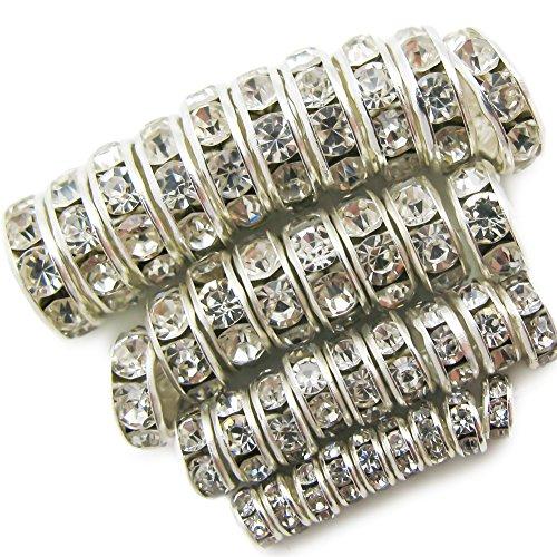 TOAOB 400 Stück Metallperlen Mix Zwischenperlen mit Strasssteinen Spacer Perlen Silber 4mm bis 10mm Perlenkappen für Schmuckherstellung Armbänder
