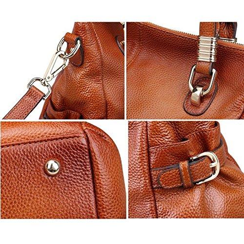 Hermiona Gorgeous Ladies' Genuine Leather Tote Shoulder Handbag Red brown