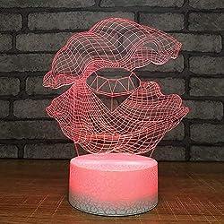 3D Veilleuses Led Chevet Bmx Shell Diamant Forme Usb 7 Changement De Couleur Lampe De Table Décor À La Maison Chambre Sommeil Luminaire Cadeaux-touch