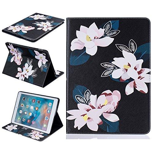 Preisvergleich Produktbild iPad Pro 9.7 Hülle Case,iPad Pro 9.7 Ledertasche,Cozy Hut Bunt Painting und Stilvoll Brieftasche Tasche PU Leder Flip Protective Stand Tasche Schutzhülle Hülle für Apple iPad Pro 9.7 - Black Lily