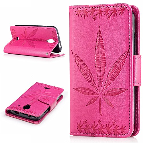 Price comparison product image Huawei Y360 Case,BONROY® Huawei Y360 Maple leaf embossed pattern PU Leather Phone Holster Case, Flip Folio Book Case Wallet Cover with Stand Function, Card Slots Money Pouch Protective Leather Wallet Case for Huawei Y360