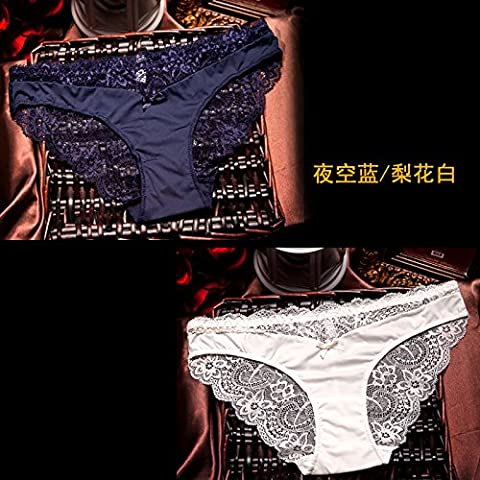 RRRRZ* 2 installed a Bow Tie Down and SEXY UNDERWEAR female lace underwear transparent temptation to non-marking 3 corner trousers ,L, night sky blue / pear grizzled mender