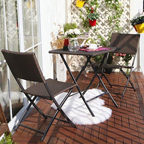 Terrasse Balkonmöbel Faltbare Bistro-Möbel-sets Holz Harz und Rattan