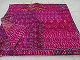 Tribal asiatischen Textiles Wende Patola indische Handarbeit, Vintage Plaid Tagesdecke, Quilt-Design, Kantha Schemel Queen, Bunt, Kantha Schemel Steppdecke, Kantha Schemel