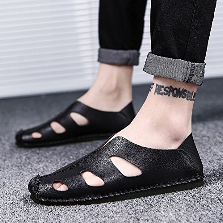 @Sandals Cueva Negra Hombres Sandalias Zapatos,42,Negro
