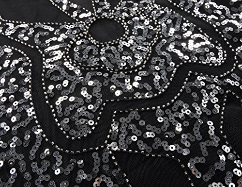 PrettyGuide Damen 1920 Sequin Art Deco Hohl Paisley Tribe Cocktail Flapper-Kleid Silber