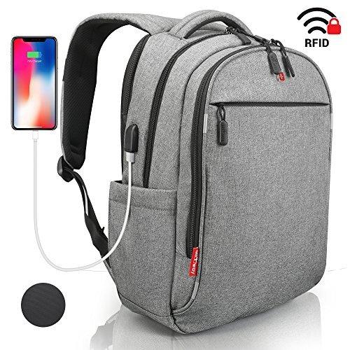 Laptop Rucksack Herren Damen mit RFID Schutz Anti Theft Backpack SWISS Design Rucksack wasserdicht mit Regenschutz und USB für Business Schule Freizeit Grau 15 zoll