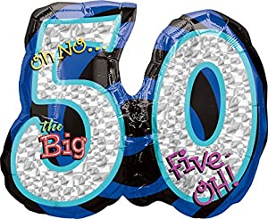 amscan 116051-01 - Globos de Papel de Aluminio para cumpleaños número 50, 26 x 21 Pulgadas (5 Unidades)