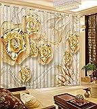 Wapel Maßgeschneiderte 3D-Vorhänge Foto Drucken Gold Rose Luxus 3D-Vorhänge Für Schlafzimmer Romantische Vorhänge Für Schlafzimmer 240X400CM