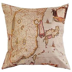Lino y algodón funda de almohada cojín de palabra mapa impreso Cover Home Decorative funda de almohada 43x 43cm