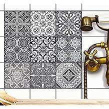 Mosaico piastrelle autoadesive | Adesivo design piastrelle adesivi per interni - adesivo decorativo pavimenti bagno | 15x15 cm - Design ?Black n White? - Set 54 pezzi