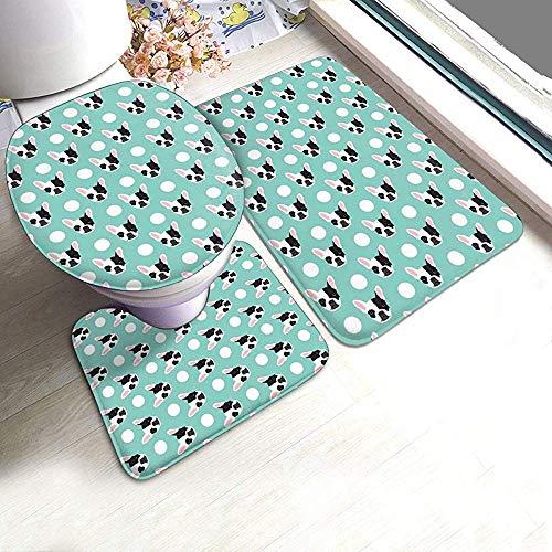 Alfombras de baño Bulldog francés Polka Dogs Alfombrillas de baño con cabeza de perro divertida Alfombrillas suaves Alfombrilla de baño en forma de U + Tapa de la tapa + Alfombras de baño absorbentes