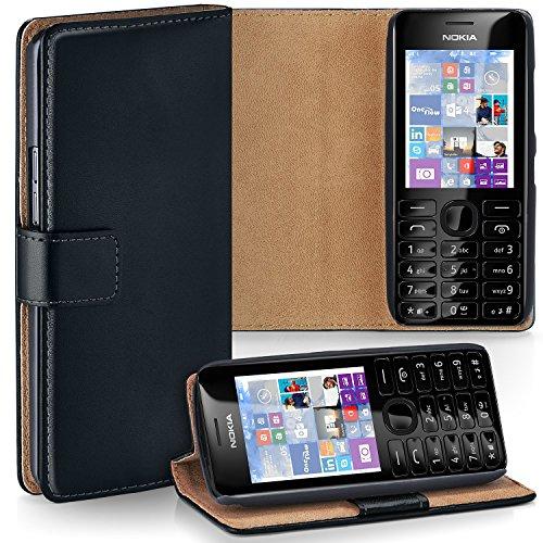 Cover OneFlow per Nokia Asha 206 Custodia con scomparti documenti | Flip Case Astuccio Cover per cellulare apribile | Custodia cellulare Cover rotettiva Accessori Cellulare protezione Paraurti DEEP-BLACK