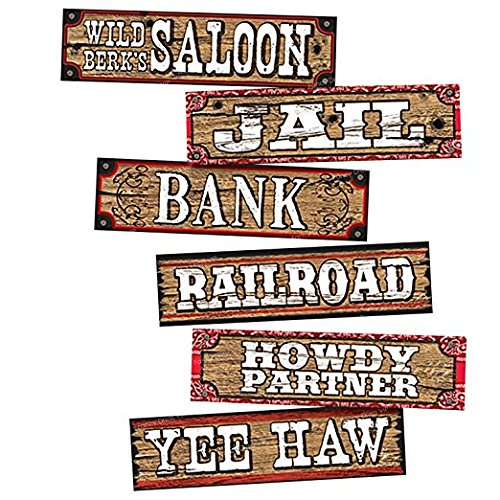 cowboy-party-decoration-set-of-6-signs-saloon-wood-planks-toy-western-cowboy-decoration-sign-wild-we